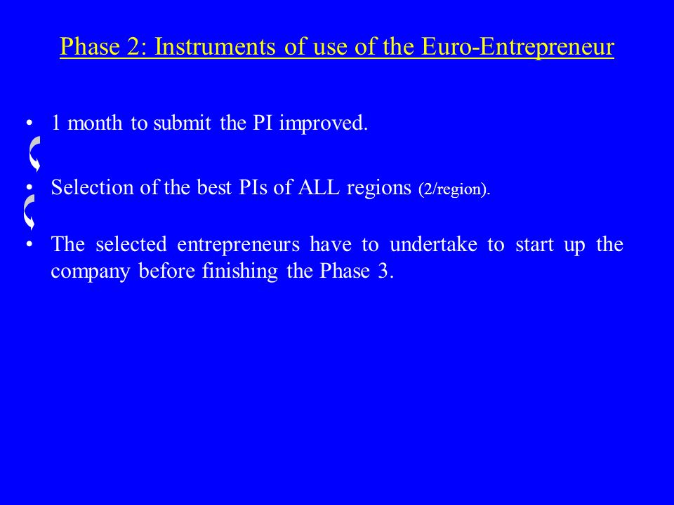 Phase 2: Instruments of use of the Euro-Entrepreneur 1 month to submit the PI improved.