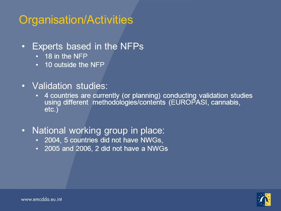 Organisation/Activities Experts based in the NFPs 18 in the NFP 10 outside the NFP Validation studies: 4 countries are currently (or planning) conducting validation studies using different methodologies/contents (EUROPASI, cannabis, etc.) National working group in place: 2004, 5 countries did not have NWGs, 2005 and 2006, 2 did not have a NWGs
