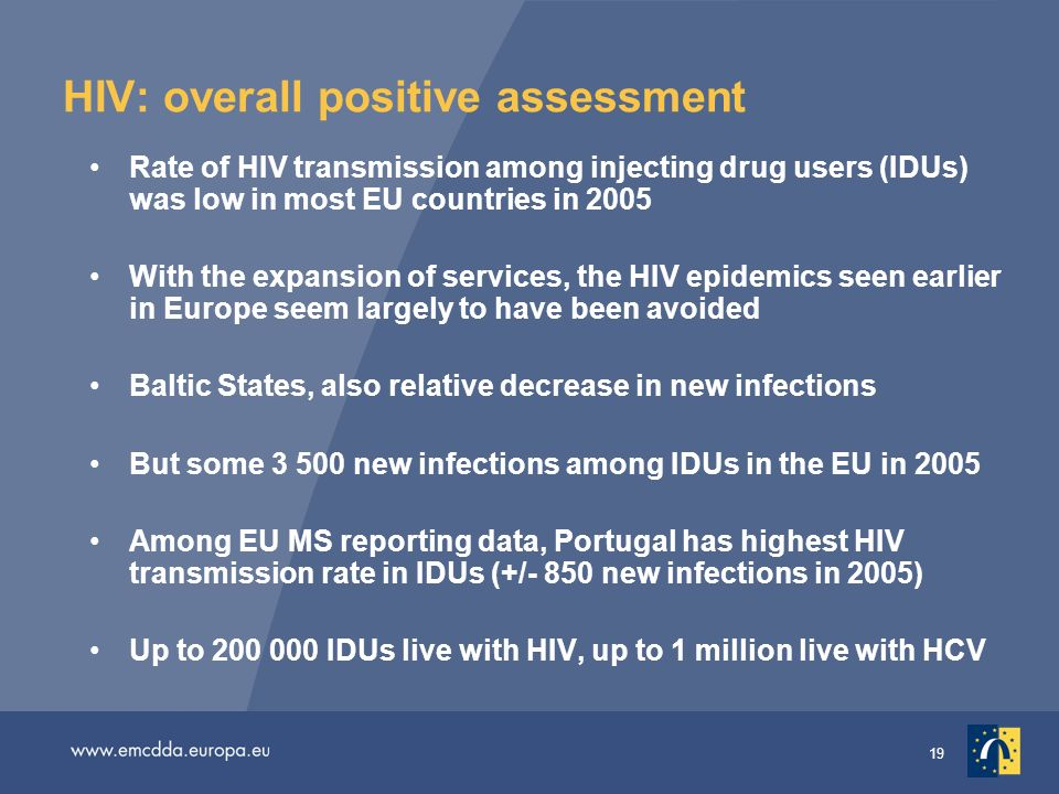 19 HIV: overall positive assessment Rate of HIV transmission among injecting drug users (IDUs) was low in most EU countries in 2005 With the expansion of services, the HIV epidemics seen earlier in Europe seem largely to have been avoided Baltic States, also relative decrease in new infections But some new infections among IDUs in the EU in 2005 Among EU MS reporting data, Portugal has highest HIV transmission rate in IDUs (+/- 850 new infections in 2005) Up to IDUs live with HIV, up to 1 million live with HCV