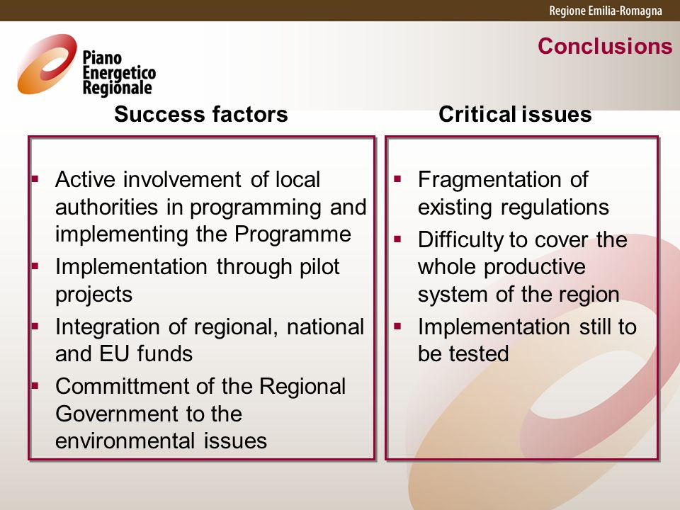 Conclusions Success factors Active involvement of local authorities in programming and implementing the Programme Implementation through pilot project