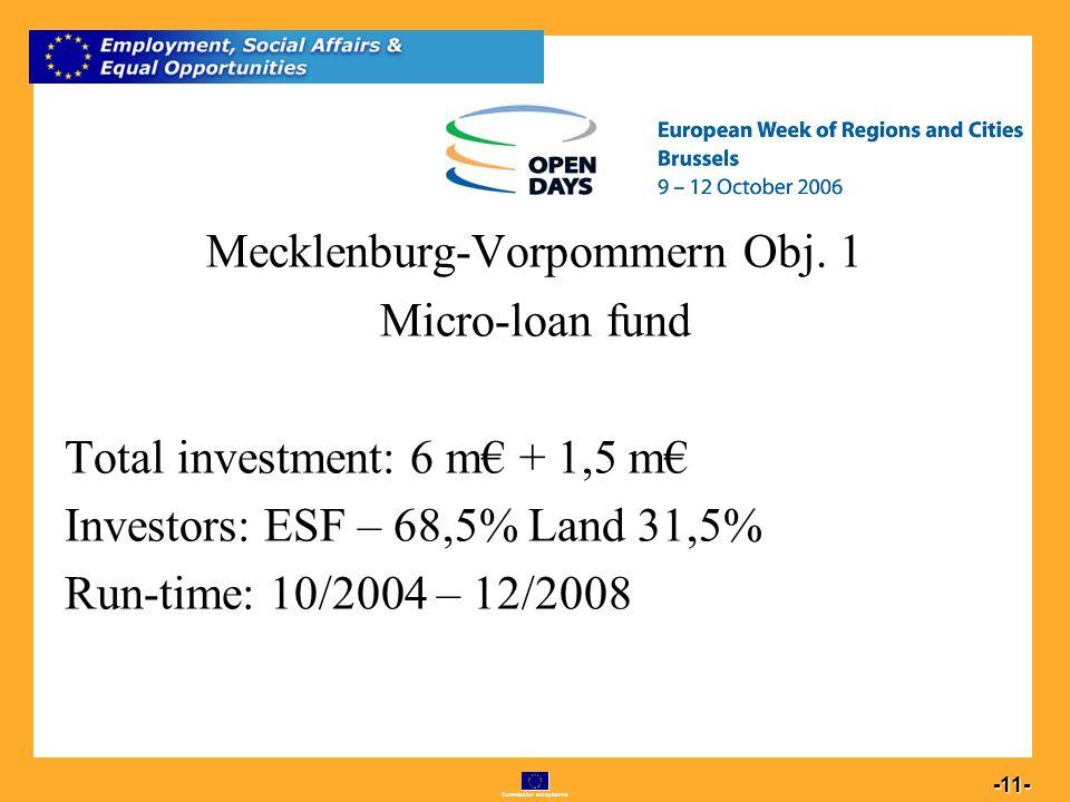 Commission européenne 11 -11- Mecklenburg-Vorpommern Obj.