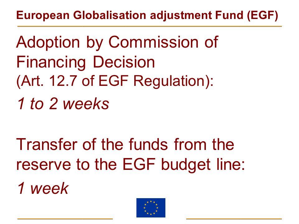 European Globalisation adjustment Fund (EGF) Adoption by Commission of Financing Decision (Art. 12.7 of EGF Regulation): 1 to 2 weeks Transfer of the