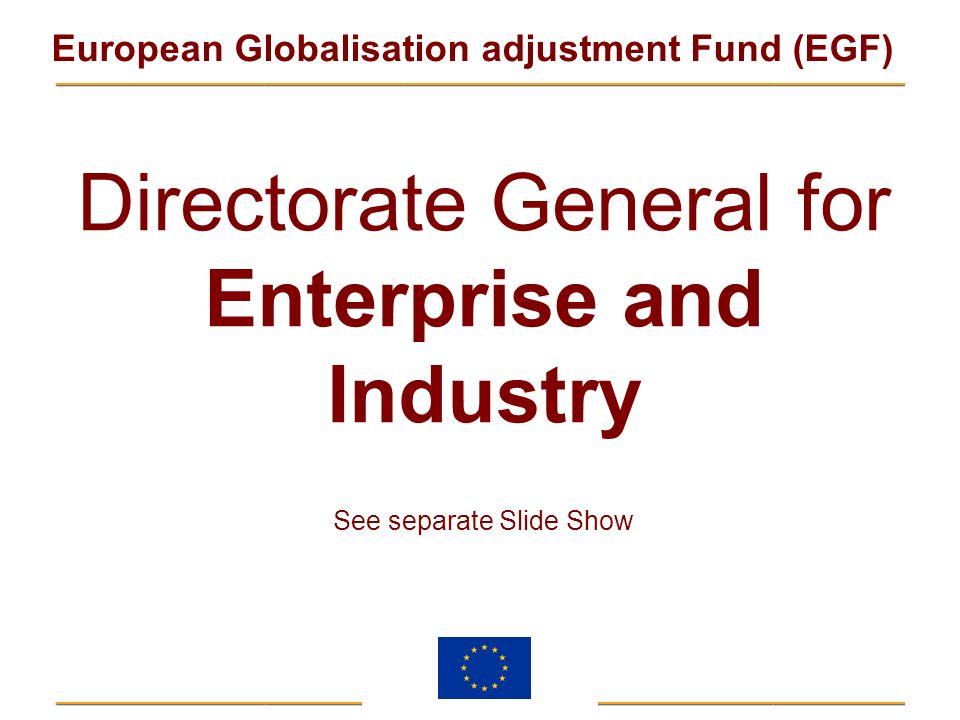 European Globalisation adjustment Fund (EGF) Directorate General for Enterprise and Industry See separate Slide Show