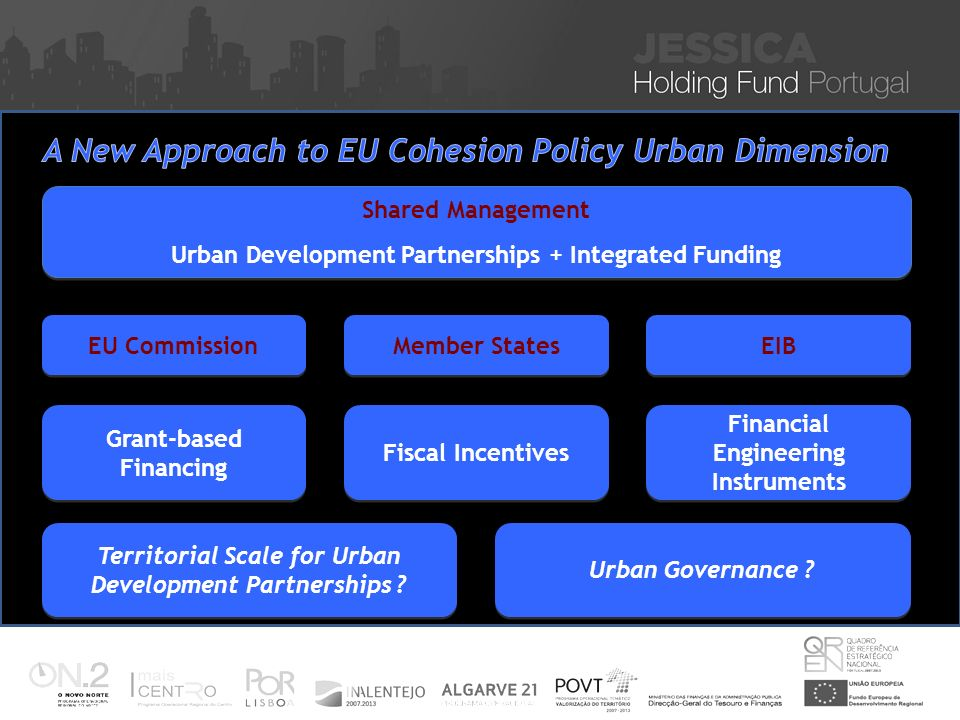 Iniciativa JESSICA – Financiamento de Projectos Sustentáveis de Reabilitação Urbana Nuno Vitorino 16 Nov 2010 Shared Management Urban Development Partnerships + Integrated Funding Shared Management Urban Development Partnerships + Integrated Funding EU Commission Member States EIB Grant-based Financing Fiscal Incentives Financial Engineering Instruments Territorial Scale for Urban Development Partnerships .