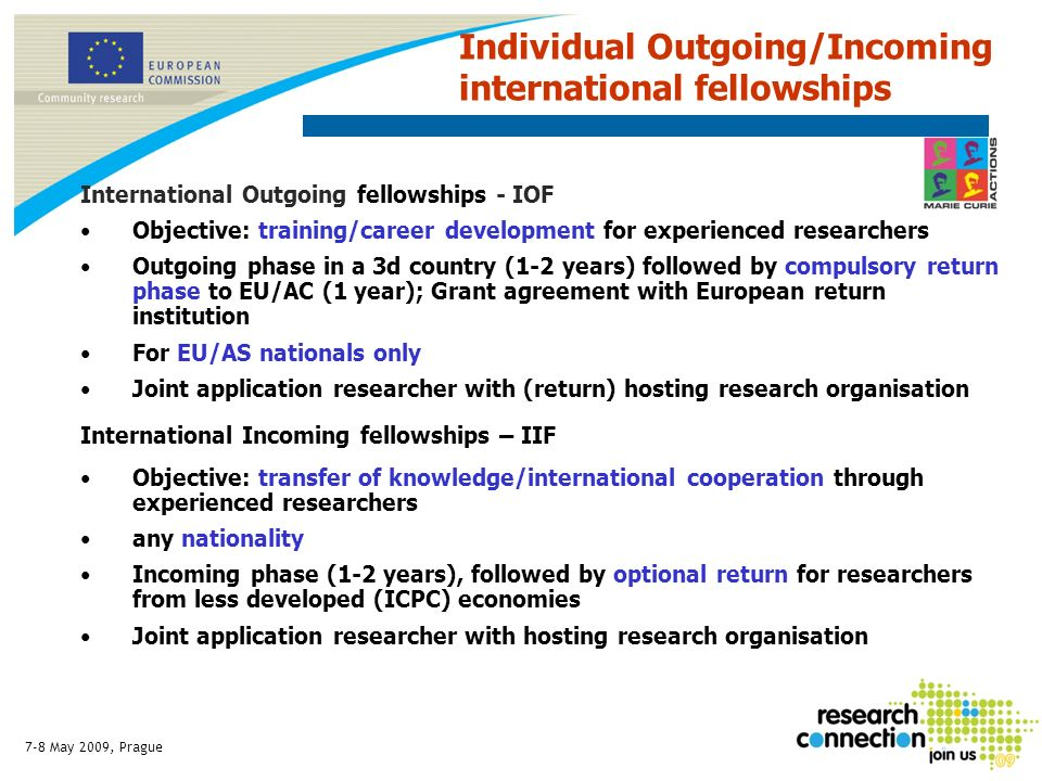 7-8 May 2009, Prague International Outgoing fellowships - IOF Objective: training/career development for experienced researchers Outgoing phase in a 3