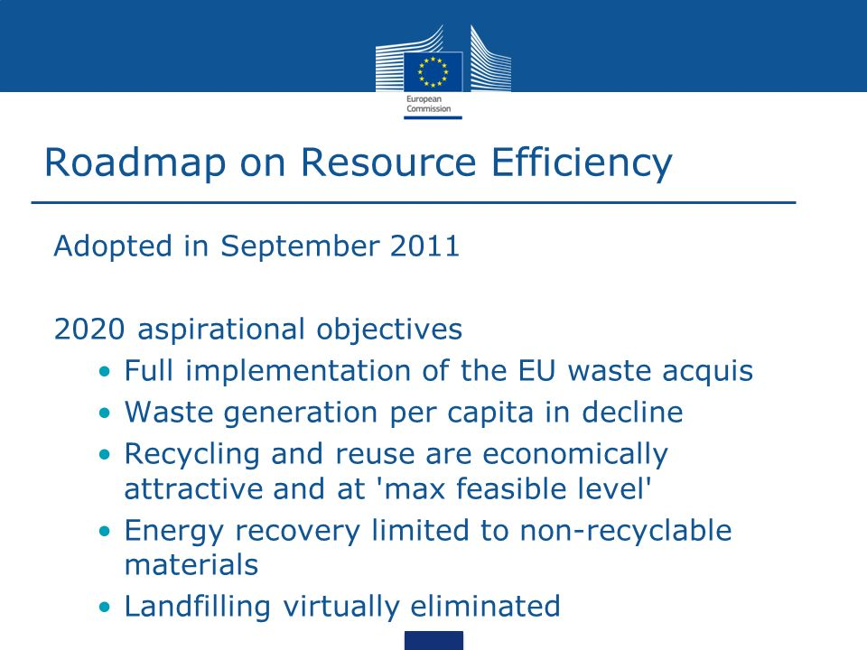 Roadmap on Resource Efficiency Adopted in September 2011 2020 aspirational objectives Full implementation of the EU waste acquis Waste generation per