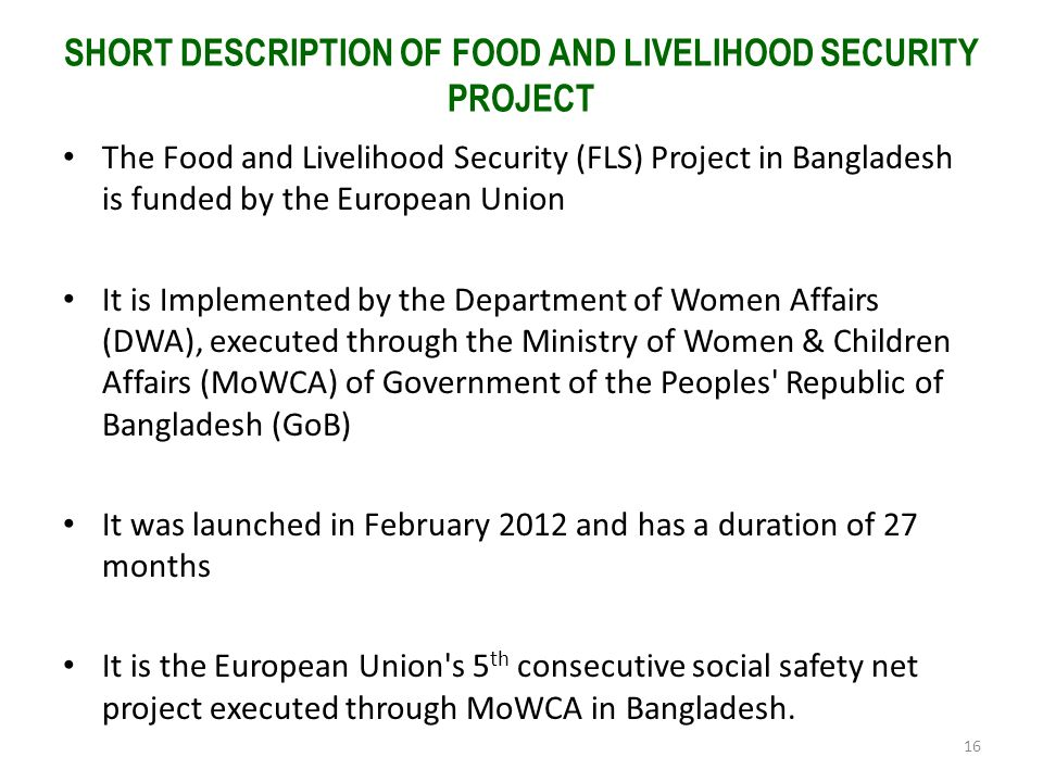 SHORT DESCRIPTION OF FOOD AND LIVELIHOOD SECURITY PROJECT The Food and Livelihood Security (FLS) Project in Bangladesh is funded by the European Union