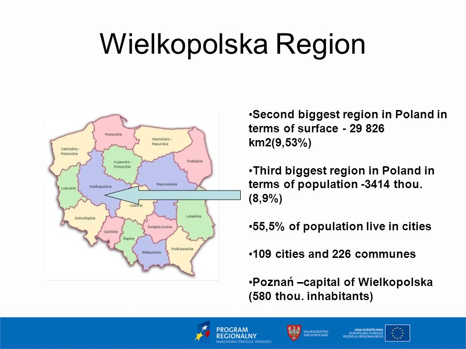 Wielkopolska Region Second biggest region in Poland in terms of surface - 29 826 km2(9,53%) Third biggest region in Poland in terms of population -3414 thou.