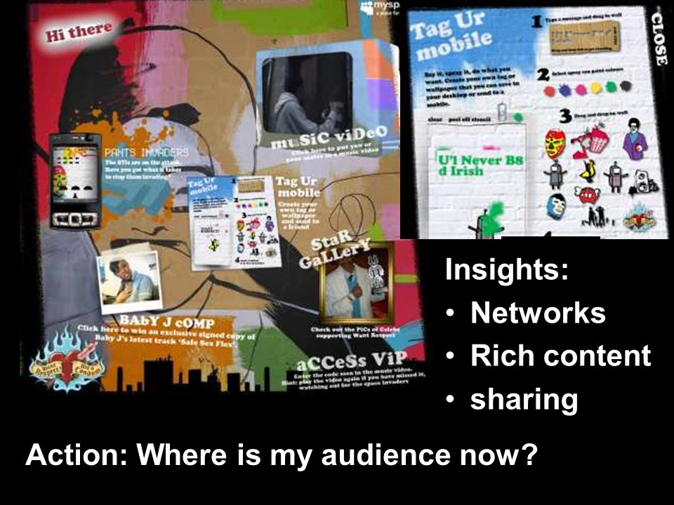 Insights: Networks Rich content sharing Action: Where is my audience now
