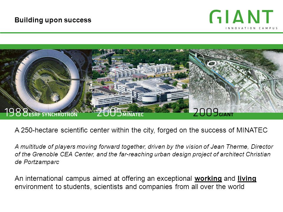 IRT MINATEC Building upon success A 250-hectare scientific center within the city, forged on the success of MINATEC A multitude of players moving forw