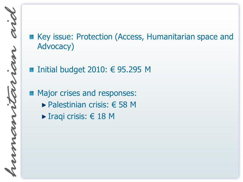 Key issue: Protection (Access, Humanitarian space and Advocacy) Initial budget 2010: 95.295 M Major crises and responses: Palestinian crisis: 58 M Ira