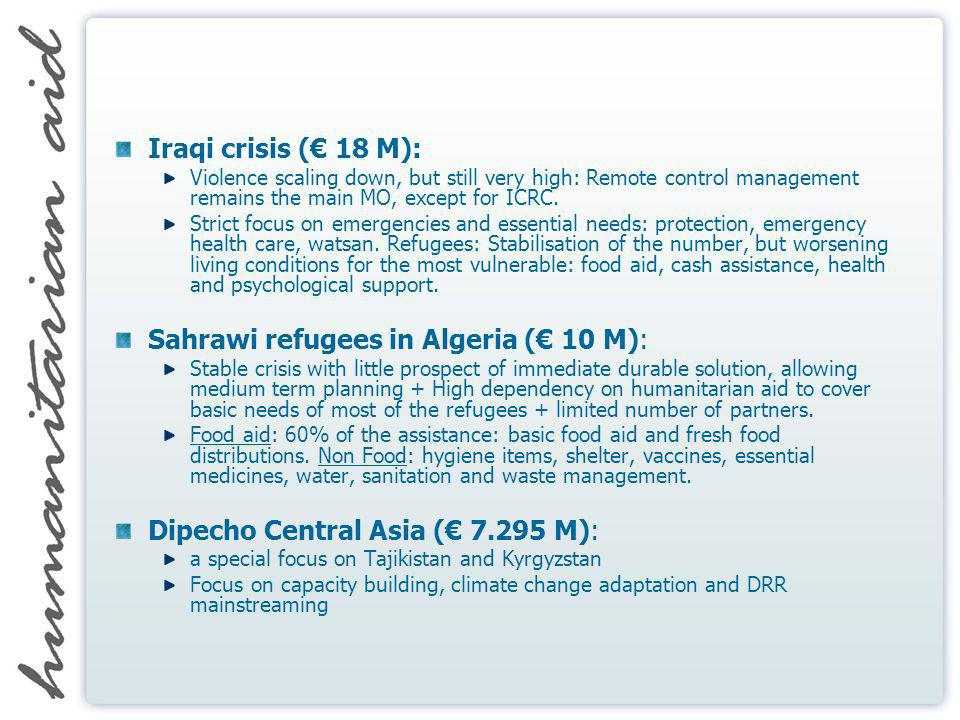 Iraqi crisis ( 18 M): Violence scaling down, but still very high: Remote control management remains the main MO, except for ICRC. Strict focus on emer