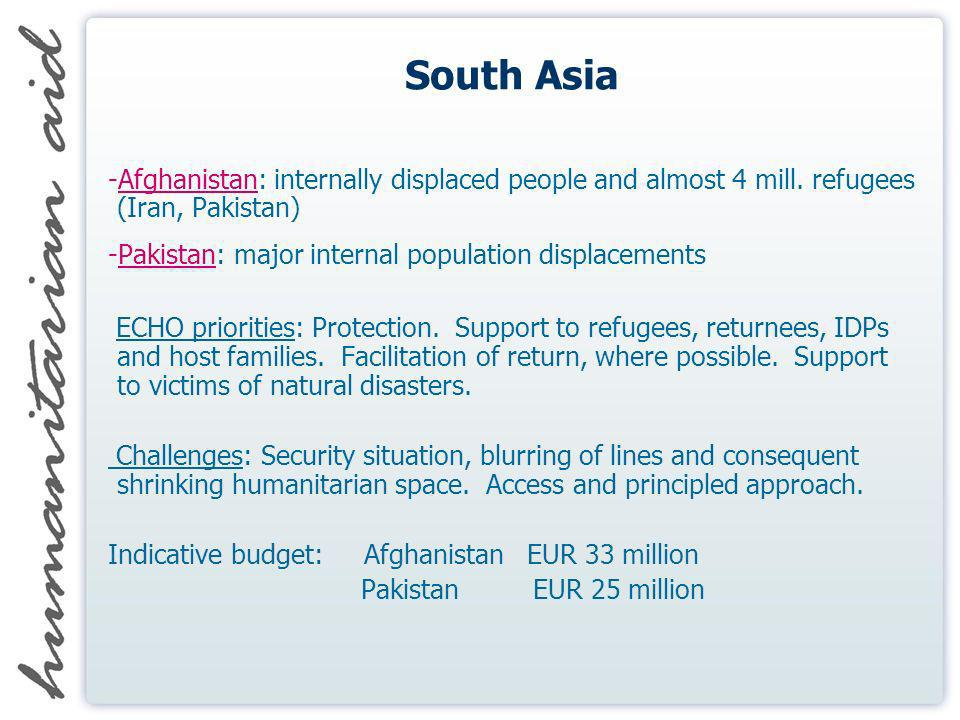 South Asia -Afghanistan: internally displaced people and almost 4 mill. refugees (Iran, Pakistan) -Pakistan: major internal population displacements E
