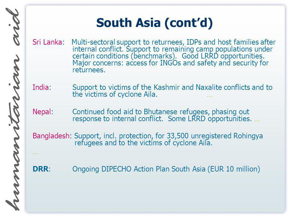 South Asia (contd) Sri Lanka: Multi-sectoral support to returnees, IDPs and host families after internal conflict.