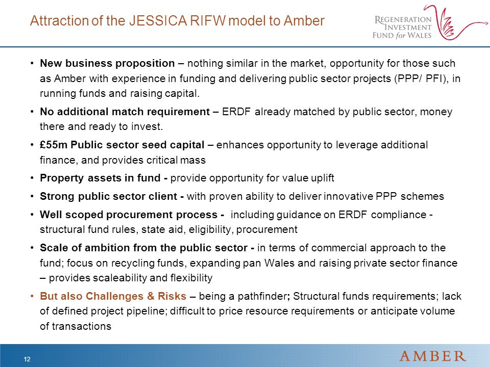 Attraction of the JESSICA RIFW model to Amber New business proposition – nothing similar in the market, opportunity for those such as Amber with exper