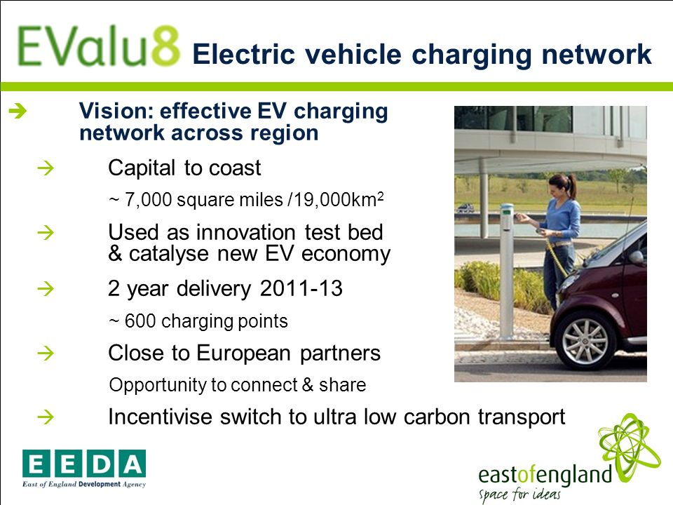 Vision: effective EV charging network across region Capital to coast ~ 7,000 square miles /19,000km 2 Used as innovation test bed & catalyse new EV economy 2 year delivery 2011-13 ~ 600 charging points Close to European partners Opportunity to connect & share Incentivise switch to ultra low carbon transport Electric vehicle charging network