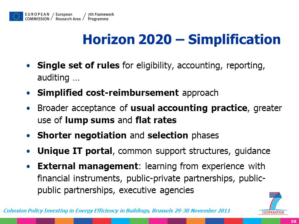 18 Cohesion Policy Investing in Energy Efficiency in Buildings, Brussels 29-30 November 2011 Horizon 2020 – Simplification Single set of rules for eli