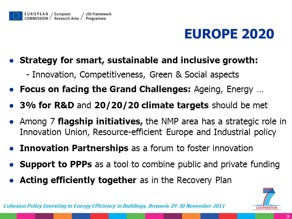 3 Cohesion Policy Investing in Energy Efficiency in Buildings, Brussels 29-30 November 2011 Strategy for smart, sustainable and inclusive growth: - In