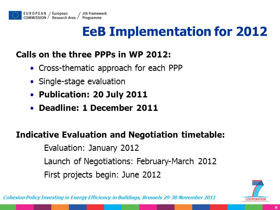 9 Cohesion Policy Investing in Energy Efficiency in Buildings, Brussels 29-30 November 2011 EeB Implementation for 2012 Calls on the three PPPs in WP 2012: Cross-thematic approach for each PPP Single-stage evaluation Publication: 20 July 2011 Deadline: 1 December 2011 Indicative Evaluation and Negotiation timetable: Evaluation: January 2012 Launch of Negotiations: February-March 2012 First projects begin: June 2012