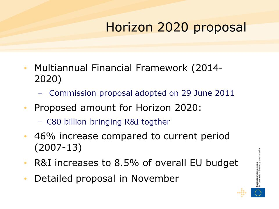 Horizon 2020 proposal Multiannual Financial Framework (2014- 2020) – Commission proposal adopted on 29 June 2011 Proposed amount for Horizon 2020: –80