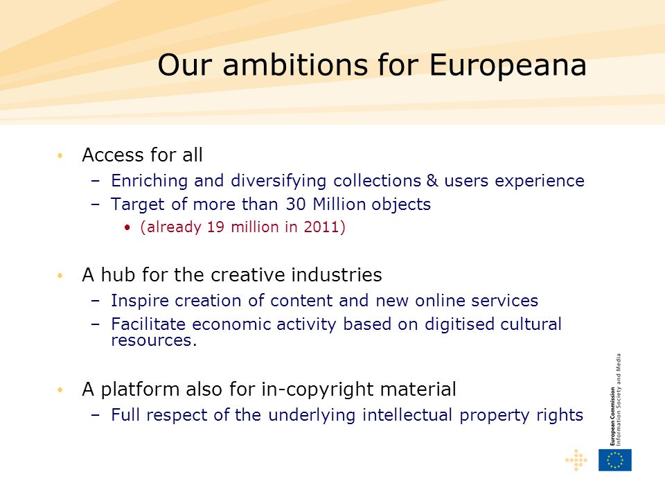 Our ambitions for Europeana Access for all –Enriching and diversifying collections & users experience –Target of more than 30 Million objects (already