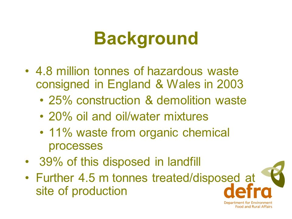 Background 4.8 million tonnes of hazardous waste consigned in England & Wales in % construction & demolition waste 20% oil and oil/water mixtures 11% waste from organic chemical processes 39% of this disposed in landfill Further 4.5 m tonnes treated/disposed at site of production