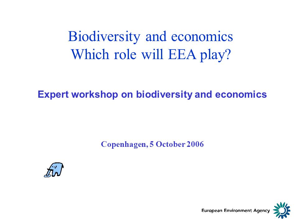Biodiversity and economics Which role will EEA play.
