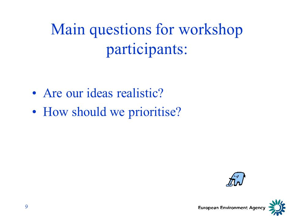 9 Main questions for workshop participants: Are our ideas realistic How should we prioritise