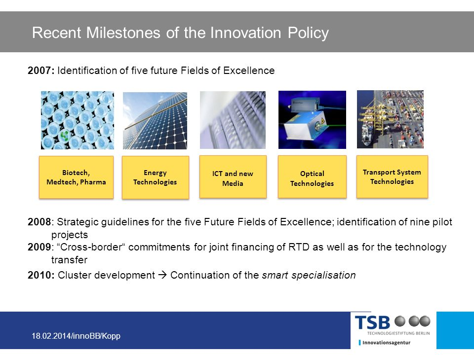 18.02.2014/innoBB/Kopp Recent Milestones of the Innovation Policy 2007: Identification of five future Fields of Excellence 2008: Strategic guidelines