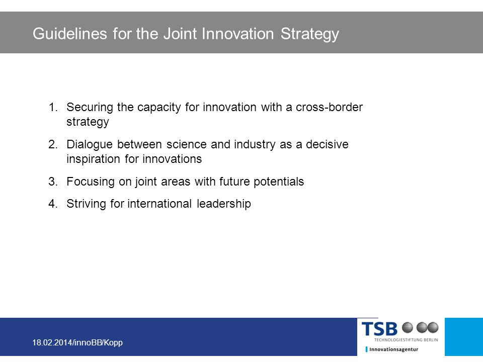 18.02.2014/innoBB/Kopp Guidelines for the Joint Innovation Strategy 1.Securing the capacity for innovation with a cross-border strategy 2.Dialogue bet