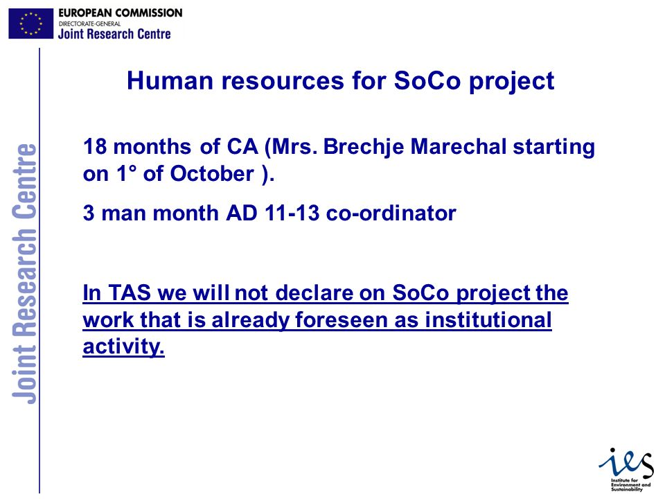 11 Human resources for SoCo project 18 months of CA (Mrs.