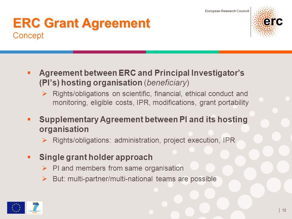 European Research Council 10 ERC Grant Agreement ERC Grant Agreement Concept Agreement between ERC and Principal Investigators (PIs) hosting organisat