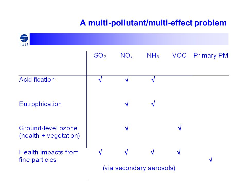 A multi-pollutant/multi-effect problem