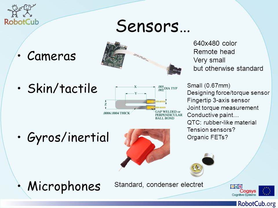 Sensors… Cameras Skin/tactile Gyros/inertial Microphones 640x480 color Remote head Very small but otherwise standard Small (0.67mm) Designing force/torque sensor Fingertip 3-axis sensor Joint torque measurement Conductive paint… QTC: rubber-like material Tension sensors.