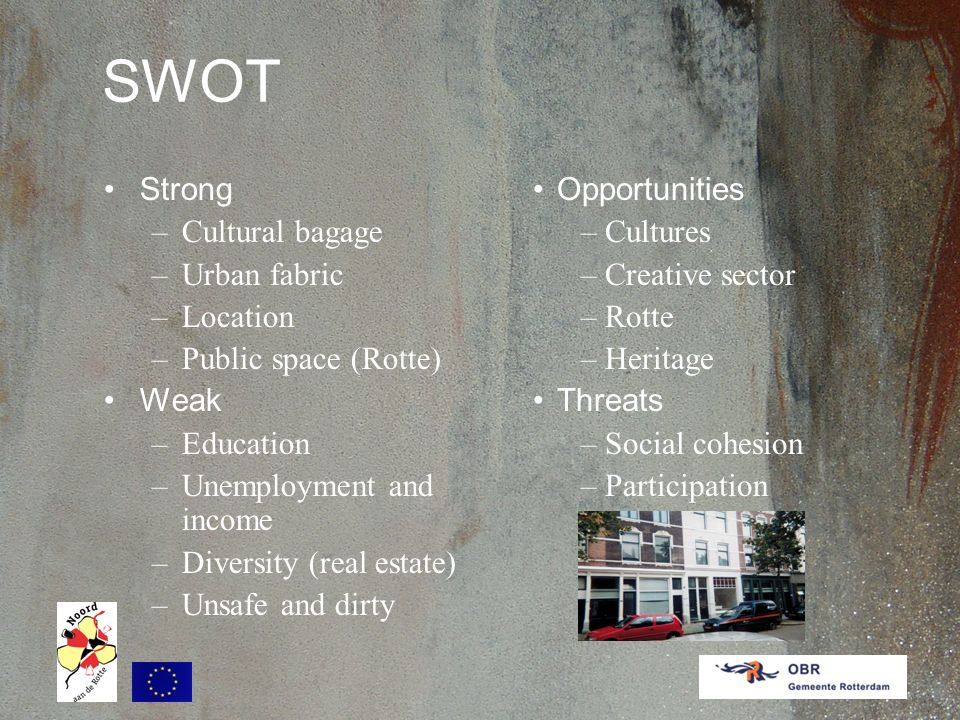 SWOT Strong –Cultural bagage –Urban fabric –Location –Public space (Rotte) Weak –Education –Unemployment and income –Diversity (real estate) –Unsafe and dirty Opportunities –Cultures –Creative sector –Rotte –Heritage Threats –Social cohesion –Participation