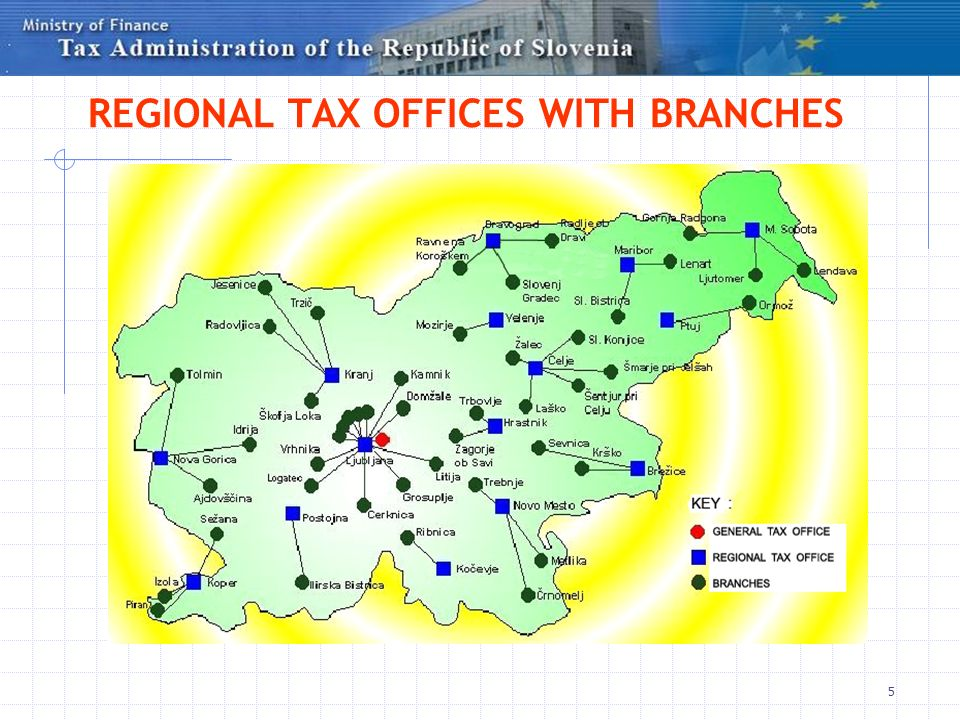 5 REGIONAL TAX OFFICES WITH BRANCHES