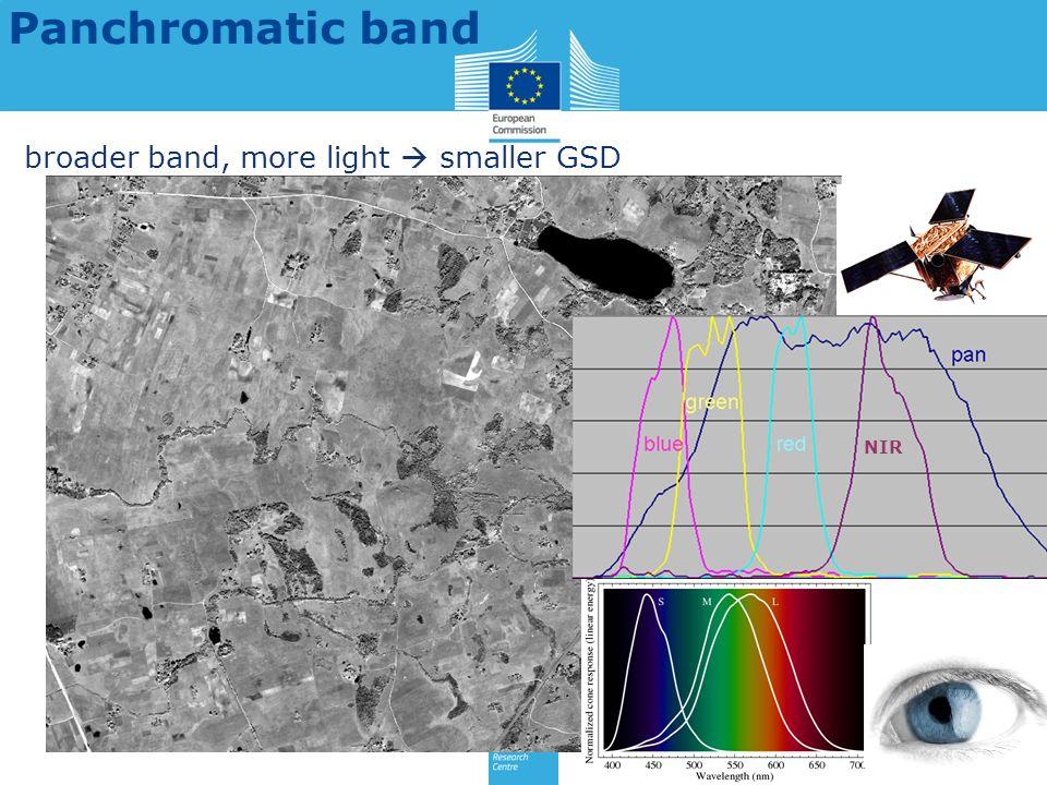 Panchromatic band broader band, more light smaller GSD NIR
