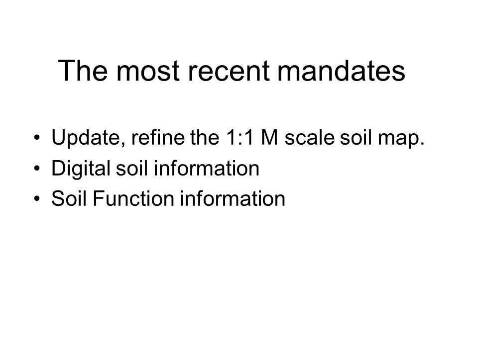 Digital soil mapping: The basis for digital soil functional mapping (Report outline) Introduction Background information, rational, goals, of the DSMWG Key concepts (glossary and the framework) Targeted clients, potential data users, policy relevance State of the art of DSM Soil data and auxiliary information DSM models Accuracy Visualization Mapping soil functions and threats: some case studies Definition of soil functions and threats Land suitability Modelling environmental issues Assessing soil pollution by heavy metals Modelling soil erosion Pedotransfer rules in environmental monitoring SOM Conclusion We need data, we need specification Research needs The road towards soil functional mapping Soil function WG