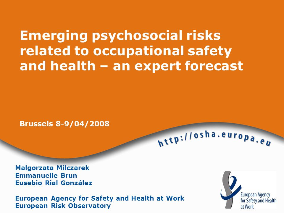 Emerging psychosocial risks related to OSH – an expert forecast European Agency for Safety and Health at Work was established in 1996 in Bilbao to help improve working conditions in the European Union European Risk Observatory: identifying emerging risks providing an overview of safety and health at work in Europe describing trends and underlying factors anticipating changes in work and their likely consequences for safety and health stimulating debate