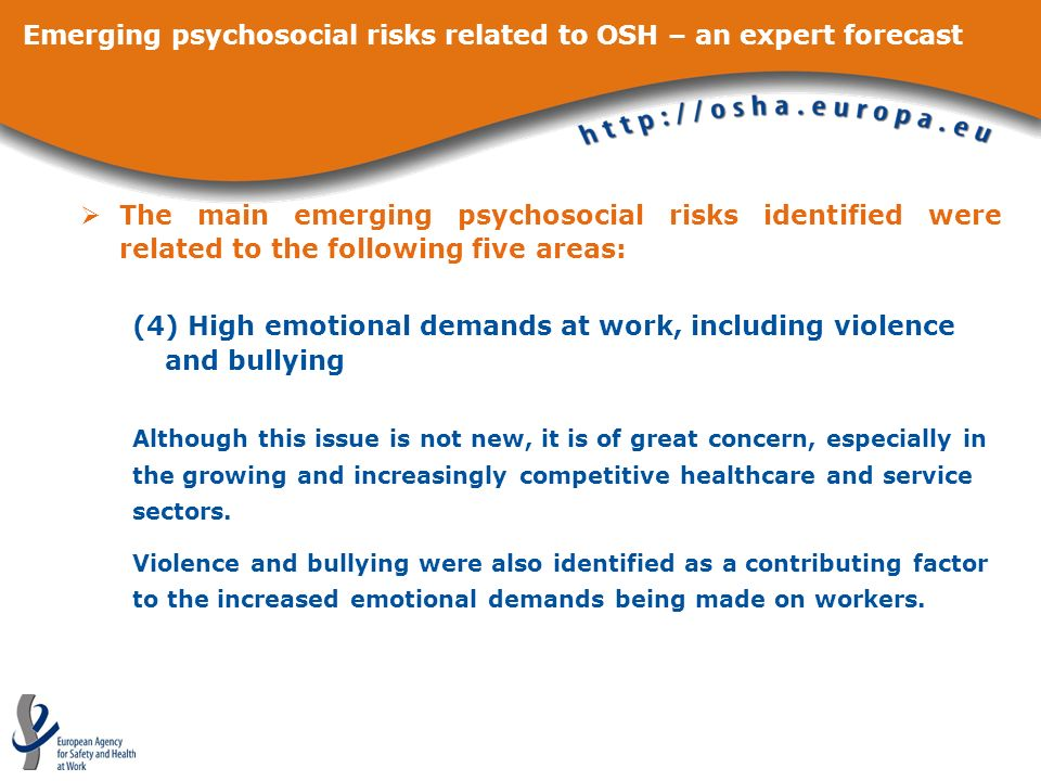 Emerging psychosocial risks related to OSH – an expert forecast The main emerging psychosocial risks identified were related to the following five are