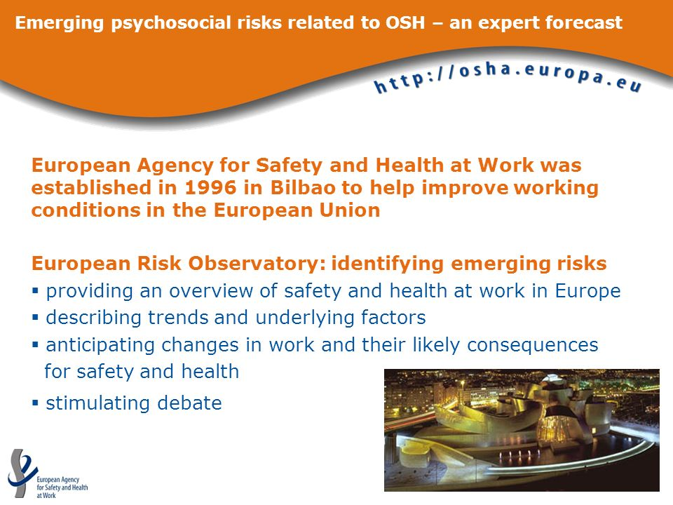 Emerging psychosocial risks related to OSH – an expert forecast European Agency for Safety and Health at Work was established in 1996 in Bilbao to hel