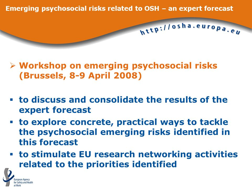 Emerging psychosocial risks related to OSH – an expert forecast Workshop on emerging psychosocial risks (Brussels, 8-9 April 2008) to discuss and cons