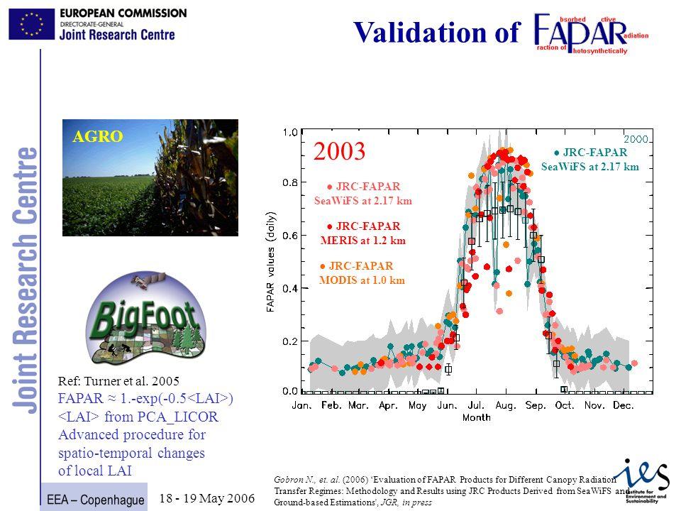 EEA – Copenhague 15 18 - 19 May 2006 Times Series of FAPAR over Harvard @250 m Harvard Gobron N., et.