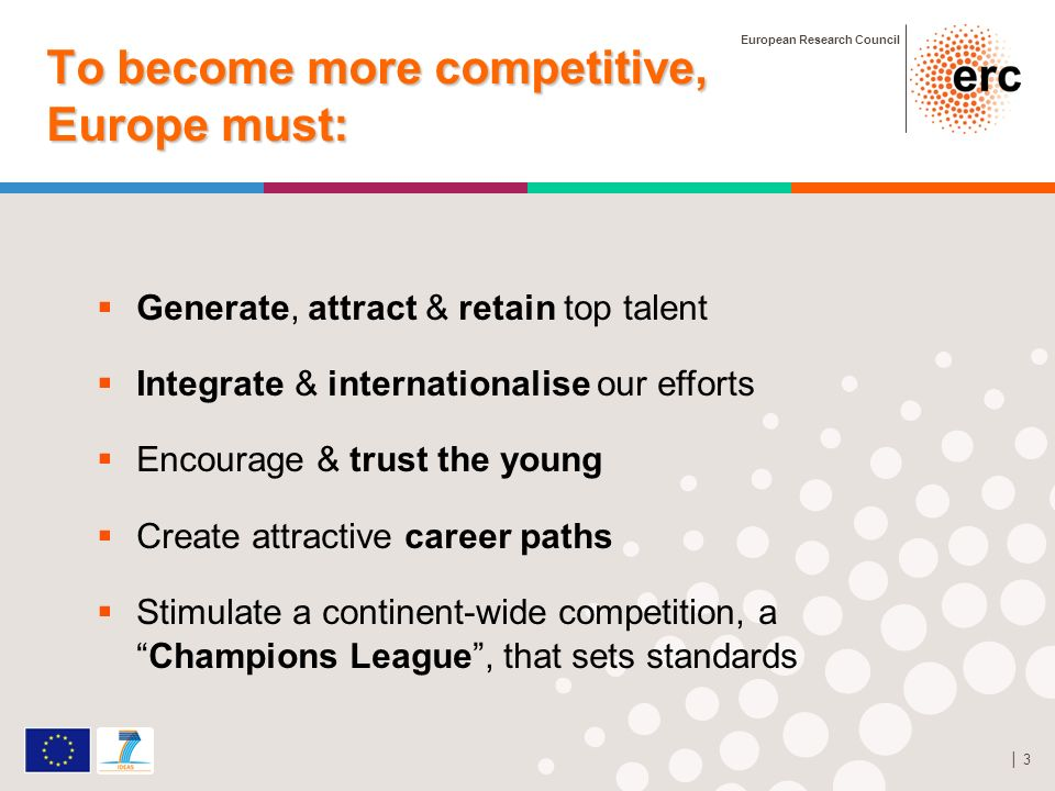 European Research Council 3 To become more competitive, Europe must: StG grant Generate, attract & retain top talent Integrate & internationalise our efforts Encourage & trust the young Create attractive career paths Stimulate a continent-wide competition, aChampions League, that sets standards
