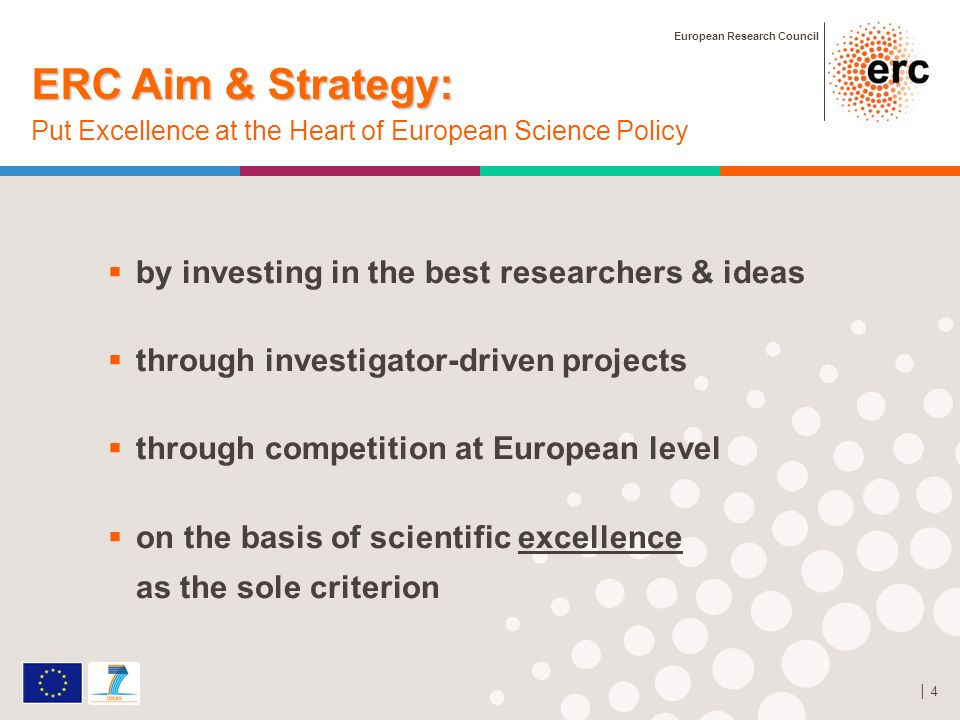 European Research Council 4 by investing in the best researchers & ideas through investigator-driven projects through competition at European level on the basis of scientific excellence as the sole criterion ERC Aim & Strategy: ERC Aim & Strategy: Put Excellence at the Heart of European Science Policy