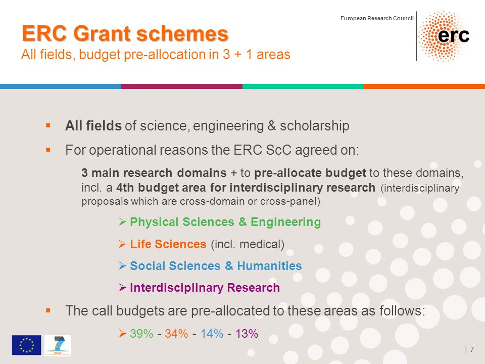 European Research Council 7 All fields of science, engineering & scholarship For operational reasons the ERC ScC agreed on: 3 main research domains + to pre-allocate budget to these domains, incl.