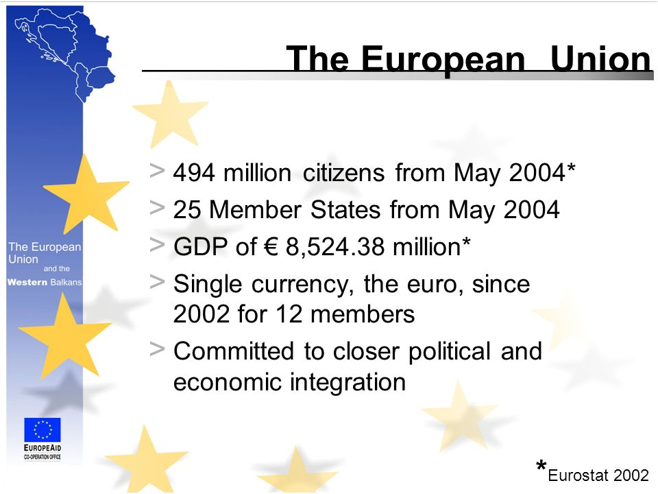 The European Union > 494 million citizens from May 2004* > 25 Member States from May 2004 > GDP of 8, million* > Single currency, the euro, since 2002 for 12 members > Committed to closer political and economic integration * Eurostat 2002