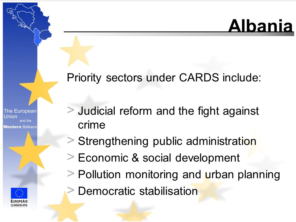 Albania Priority sectors under CARDS include: > Judicial reform and the fight against crime > Strengthening public administration > Economic & social development > Pollution monitoring and urban planning > Democratic stabilisation
