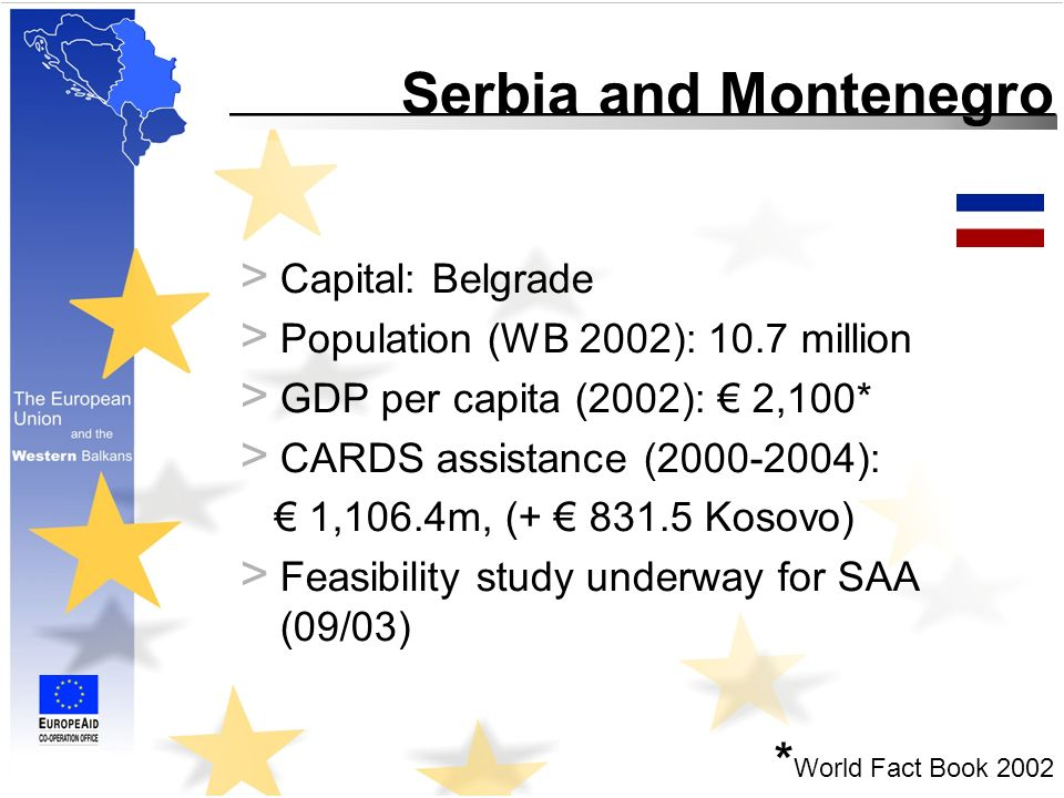 Serbia and Montenegro > Capital: Belgrade > Population (WB 2002): 10.7 million > GDP per capita (2002): 2,100* > CARDS assistance ( ): 1,106.4m, ( Kosovo) > Feasibility study underway for SAA (09/03) * World Fact Book 2002
