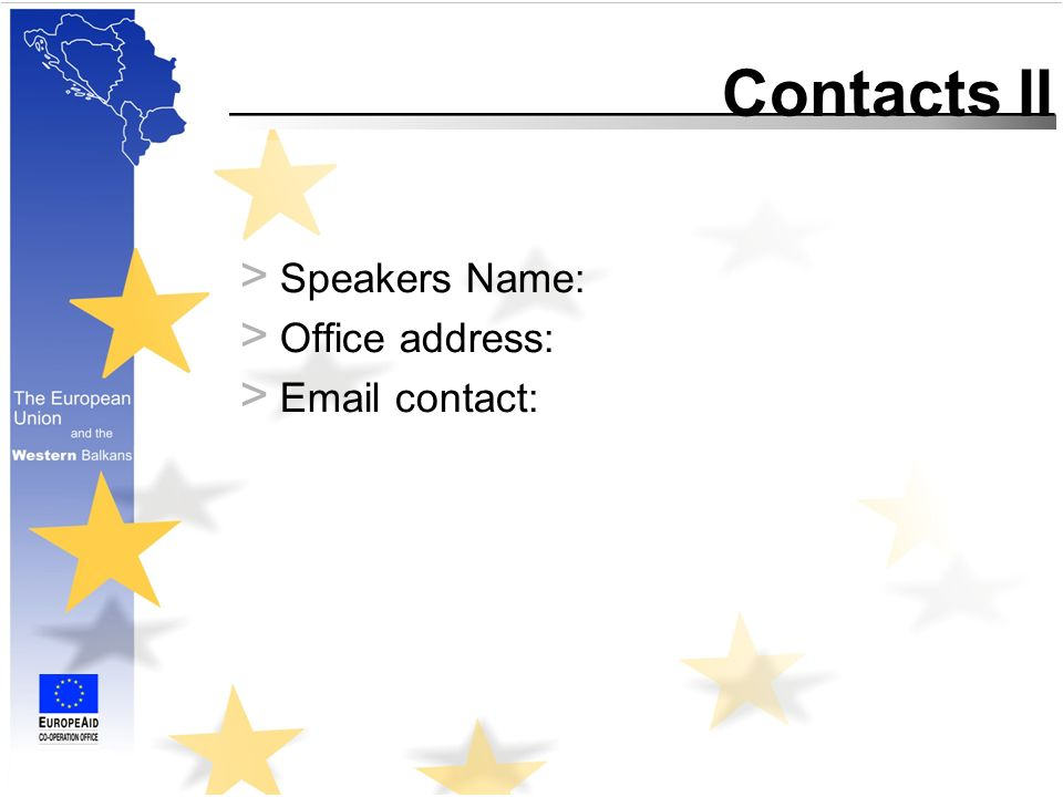 Contacts II > Speakers Name: > Office address: >  contact: